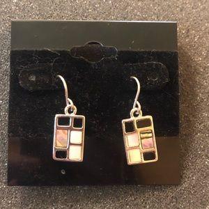 Lia Sophia Silver Dangle Earrings Rectangle